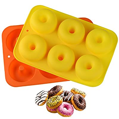 Hestya 2 Pieces Silicone Donuts Baking Pan 6-Cavity Non-stick Donuts Pan Doughnut No BPA Molds for Oven Dishwasher Microwave Freezer