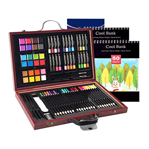 DREAMADE 80 PCS Set de Dessin,Malette de Coloriage Enfant/Professionnel/Débutant avec 24 Pastels à l'Huile,24 Peintures à l'Eau et 24 Crayons de Couleur,Coffre en Bois 37,3 x 23,5 x 4,5CM