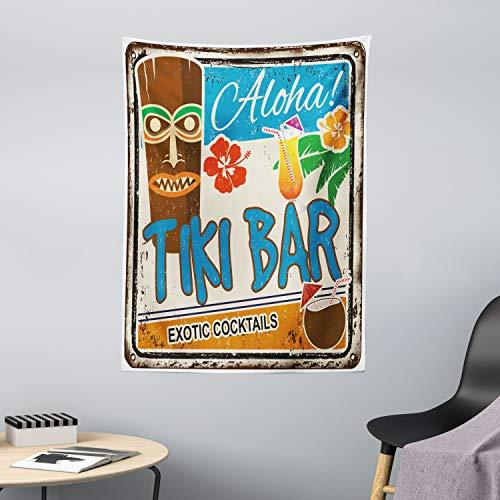 ABAKUHAUS Bar Tiki Tapiz de Pared y Cubrecama Suave, Cartel Vintage Añejado Aloha Tragos Exóticos y Coco Bebidas Antiguo Nostálgico, Lavable Colores Firmes, 110 x 150 cm, Multicolor