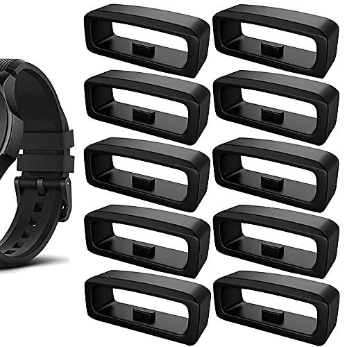 10 Pezzi Anello di Sicurezza per Cinturino, Anelli di Sicurezza di Ricambio, Silicone Anelli di Sicurezza, Anello di Ritegno Orologio Cinturino, per Cinturino per Orologio da 22 mm, Nero