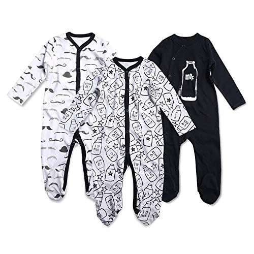 OPAWO Baby Jungen Schlafanzüge Footies Neugeborene Kleidung Pyjama 0-12 Monate 3er Pack Gr. 74, Milch + Bart