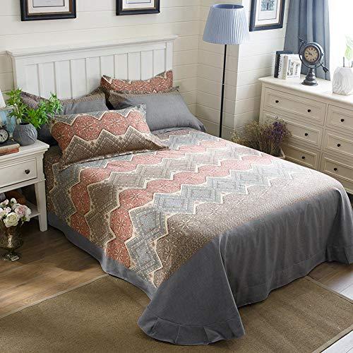 XNSY Baumwolle Big Sheet verdicken Herbst und Winter Bett Rock Tagesdecke Quilt Single-A_250 * 245 cm große Blätter