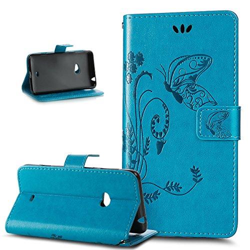 ikasus Compatible avec Coque Nokia Lumia 625 Etui,Motif Gaufrage Art Fleur Papillon Housse Cuir PU Etui Housse Portefeuille Protection supporter Flip Case Etui Housse Coque pour Nokia Lumia 625,Bleu