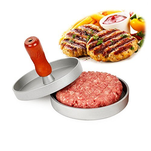 AIDOUT Burger Press - Hamburger Patty Maker - Non Stick Hand Operated Pattie Mold - Professional Aluminum Kitchen Tool with Comfortable Wooden Handle Great for Grill BBQ Homemade Burgers
