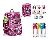 Seven. Schoolpack - Mochila SJ Gang LEDTECH Girl con corazón luminoso para la escuela extensible Flip System Girl para niña + Estuche de 3 pisos completo + llavero con brillos y 10 bolígrafos de colores