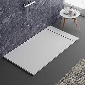 Foto di piatto doccia bianco, design moderno, modello Siviglia, in marmo e resina, effetto pietra ardesia, luxury, gelcoat, slim 3cm 80x120