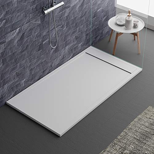 piatto doccia bianco, design moderno, modello Siviglia, in marmo e resina, effetto pietra ardesia, luxury, gelcoat, slim 3cm 80x160
