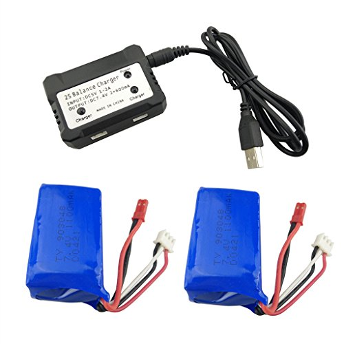 Fytoo 2PCS 7.4V 1100mah Lithium Battery with 2-in-1 Charger for WLtoys A949 A959 A969 A979 S989 V912 T23 T55 F45 A320 A321 RC Remote Control Car Remote Control Unmanned Lithium Battery
