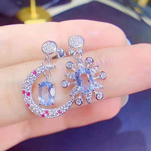 HLII Oorbellen voor dames, 925 sterling zilver, retro saffier sterren, maan-combinatie, oorbellen, modieus, voor bruiloft en verjaardag, feest, Kerstmis of vrouwen