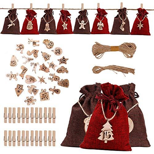 QH-Shop Calendario de Adviento, Set de 24 Bolsas de Yute para Rellenar con Calendario de Adviento Casero, Bolsa de Regalo Navidad Decoración para el Hogar