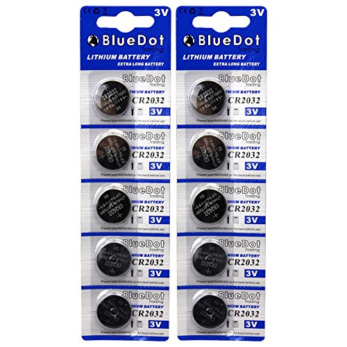 BlueDot Lithium Batteries, 3 Volts, 10 pack CR2032