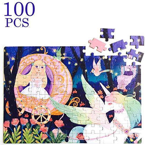 Georgie Porgy Cartone Animato Puzzle Multicolore Educativo Puzzle Giocattoli Regali per Ragazze Ragazzo Bambini dai 5 Anni in su (100 PC Piccola Principessa e Unicorno)