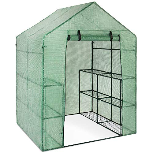 Best Choice Products 3-Tier 12-Shelf Portable 57.5x56x76-inch Outdoor Mini Garden Walk-in Greenhouse, Green