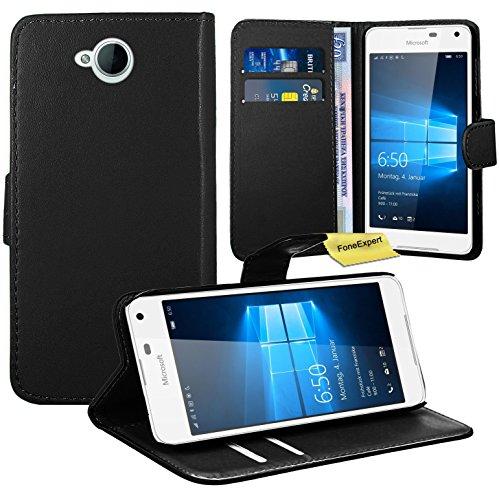 Microsoft Lumia 650 Handy Tasche, FoneExpert® Wallet Hülle Flip Cover Hüllen Etui Ledertasche Lederhülle Premium Schutzhülle für Microsoft Lumia 650 (Schwarz)