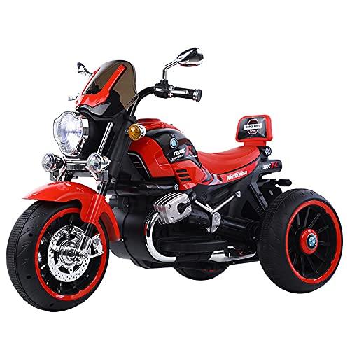 ZLH Niños Pedal Eléctrico Motocicleta, Duración De La Batería De 6V Paseo En El Juguete con Los Faros del Cuerno De La Música Motorbike para Niñas Boy 3-6 Años,Rojo