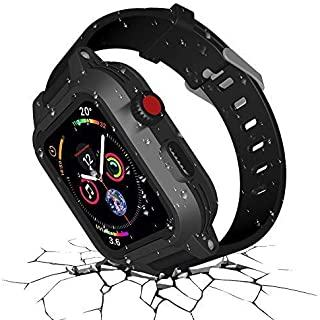 Funcilit Waterproof Apple Watch Case 38mm Series 3 & 2 with 2 Watch Bands, Waterproof case for 38mm Apple Watch Heavy Duty Impact Resistant iWatch Case Shockproof Cover Built-in Screen Protector