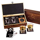 Luxurious Whiskey Stones & Glasses Gift Set - 2 XL Chilling Stainless Steel Whiskey Balls - 2x Crystal Whiskey Glasses, 2x Slate Stone Coasters, Freezer Pouch & Tongs - Set in Premium Pine Wood Box