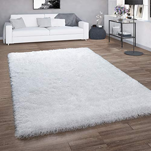 Alfombra De Pelo Largo para Salón, Shaggy con Hilo Brillante, Blanca Lisa, tamaño:160x230 cm