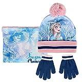 Disney Frozen 2 Mütze Für Mädchen, Die Eiskönigin Winter Set Für Kinder, Schal Handschuhe Und Hut Mit Elsa, Einheitsgrösse, Wunderbare Geschenk Für Kleine Mädchen