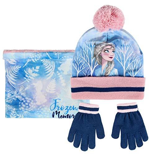 | Disney | Frozen 2 | Mädchen Kinder 3 Stück Süße Mütze, Schal Und Handschuhe Set | Pom Pom Mütze Stricken | Warme Kuschelige Handschuhe | Weicher Fleece-Schal | Mit Elsa! |