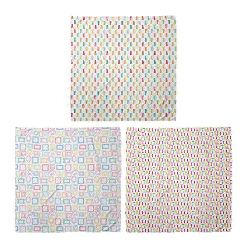 ABAKUHAUS Pack de 3 Bandanas Unisex, Las ramas diminutas abstracto de diversos Portarretratos Herramientas de construcción de dibujos animados, Multicolor