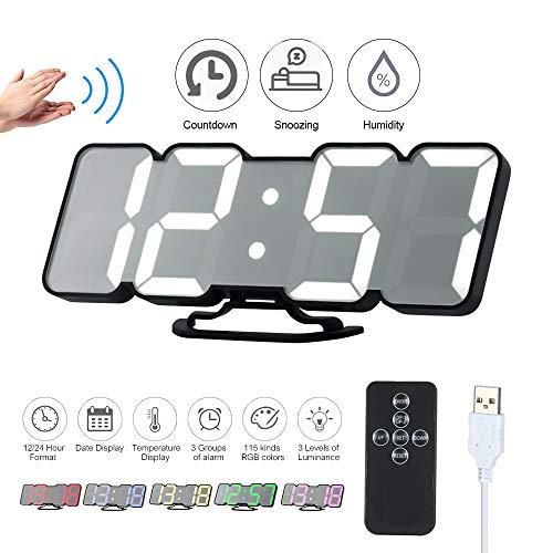 Decdeal Despertador LED RGB, Mando a Distancia 3D, Reloj de Mesa Digital USB, indicador de Temperatura, Fecha, 115 Colores, 3 Niveles de Brillo, regulación de la Humedad, Cuenta atrás, Reloj de Pared