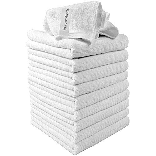 Clay Roberts Bayeta de Limpieza de Microfibra, Blanco, Paquete de 10, Paños Lavables para Cocinas y Vehiculos