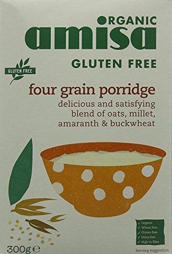Amisa Porridge Bio aux Quatre Céréales sans Gluten 300 g - Lot de 3