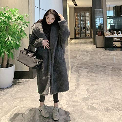 47-B Chaqueta para mujer, abrigo de invierno 2020 sección larga, abrigo de corte de oveja de grano, chaqueta de césped de piel de cordero (color: gris)