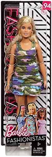 Mattel Barbie - Fashionistas Puppe, im bunten Kleid, mit Camouflagemuster