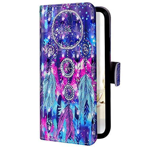 Uposao Kompatibel mit Samsung Galaxy A2 Core Handyhülle Leder Hülle 3D Bling Glitzer Bunt Muster Brieftasche Klapphülle Flip Case Schutzhülle Tasche Magnet Kartenfach Standfunktion,Traumfänger