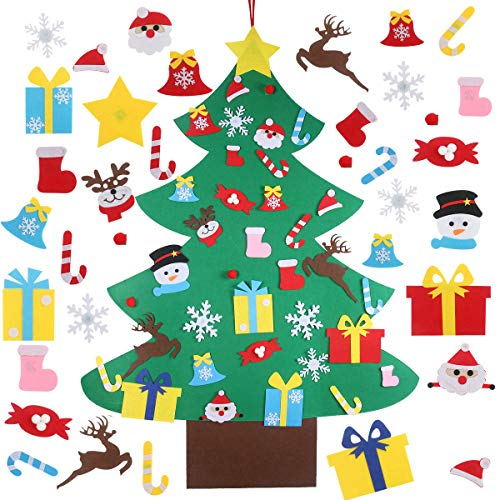 4FT DIY Felt Christmas Tree Set with 36pcs Ornaments - Wall Hanging Felt Xmas Tree for Kids Toddlers Christmas New Year Gift Decorations Party Supplier Home Door Decor