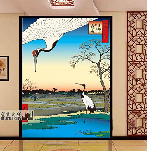Japanische klassische Bräuche, Kraniche, Glücksbringer, Ukiyo-e, Tapeten im japanischen Stil, große Wandgemälde, Restaurant, Kochwand