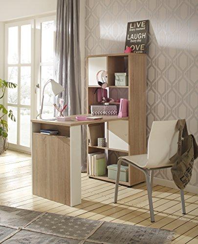lisel-de Minioffice von Maja Möbel in Sonoma Eiche/Weiß matt 64x145x114cm wechselseitig montierbar Büro Komplettset Homeoffice