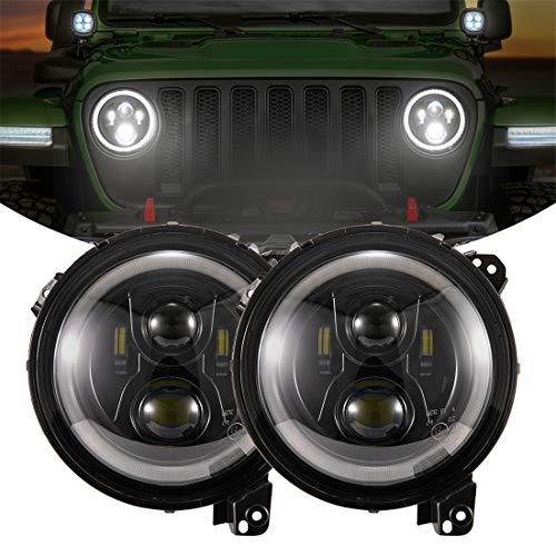 KIWI MASTER 9 Inch Round LED Headlights Halo DRL for Jeep Wrangler JL 2018-2021 Jeep Gladiator JT Accessories High Low Beam Headlight with Daytime Running Lights (New Version Adjustable Screw)