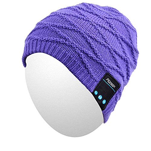 Qshell Outdoor Bluetooth Beanie Hat Slouchy Knit Skully Cap with Wireless Bluetooth Headphone Headset Earphone Music Audio Hands-Free Phone Call for Winter Sports Fitness Gym Exercise Workout-Black