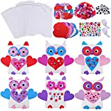 12 Sets Valentine's Day DIY Owl Card Holder Boxes Craft Kit Valentine Owl Exchange Mailboxes Favor Containers Cards Treats Giveaway Boxes with Heart Stickers Pom-poms Googly Eyes for Kids Project