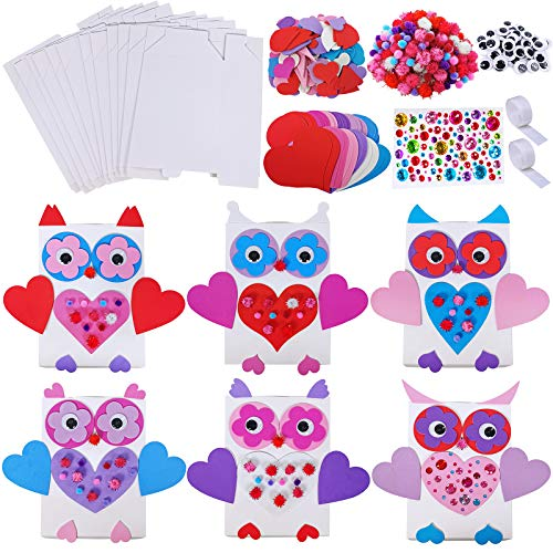 12 Sets DIY Owl Heart Card Holder Boxes Craft Kit Owl Exchange Mailboxes Favor Containers Cards Treats Boxes with Heart Stickers Pom-poms Googly Eyes for Kids Mother's Day Valentine's Day Project
