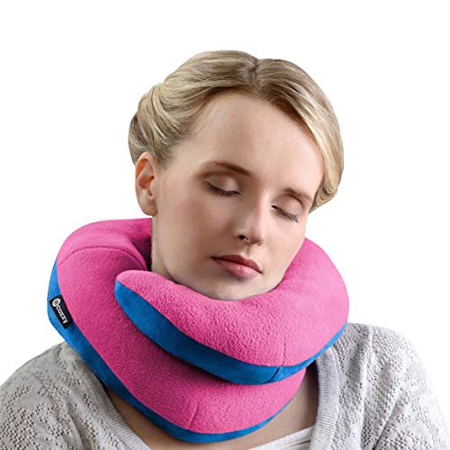 BCOZZY Kinnstütz-Reise-Nackenkissen - Unterstützt den Kopf, Hals und das Kinn bei maximalem Komfort in jeder Sitzposition. Ein patentiertes Produkt. Erwachsenen Größe, ROSA