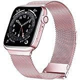HILIMNY Compatibile con cinturino Apple Watch metallo 38mm 40mm 41mm, cinturino in acciaio inossidabile di ricambio per iWatch Series 7/6/5/4/3/2/1/SE, rosa rosa 38/40/41mm