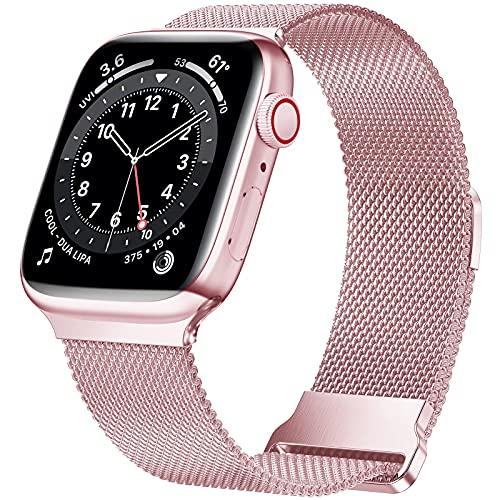 HILIMNY Correa de metal compatible con Apple Watch Correa 38mm 40mm 44mm, correa de repuesto de malla de acero inoxidable con bucle para IWatch Series 7/6/5/4/3/2/1/SE, Rosa Rosa 38/40/41mm