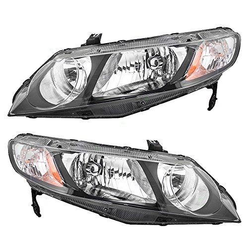 06-11 Honda Civic Hybrid Sedan Pair of Halogen Headlights Headlamps w/Clear Park Lens 33151SNCA01 33101SNCA01