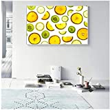 GUOCHEN Leinwandbilder Nordic Fruit Slice Zitrone Kiwi