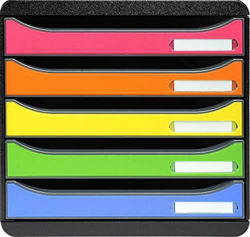 Exacompta 309798D Premium Ablagebox mit 5 Schubladen für DIN A4+ Dokumente. Stapelbare Schubladenbox mit hoher Kapazität für mehr Platz auf dem Schreibtisch Big Box Iderama Schwarz|Bunt