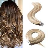 S-noilite Extension Adhesive Cheveux Naturel 20 PCS Type Fin - Rajout Cheveux Humain à Bande Adhésive 30g/Paquet (#18/613 Blond cendré/Blond très clair, 40 cm)