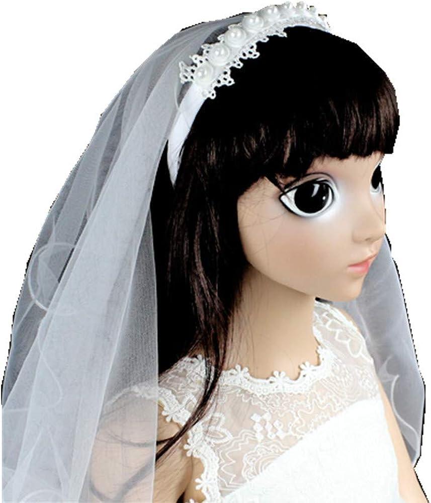 Girls First holy Communion Veil lace Flowers Wedding Veil White Floral Veil