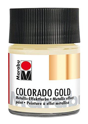 Marabu 12640005799 - Metallic Effektfarbe, Colorado Gold metallic satin 50 ml, auf Wasserbasis, lichtecht, wetterfest, schnell trocknend, zum Pinseln und Tupfen auf saugenden Untergründen