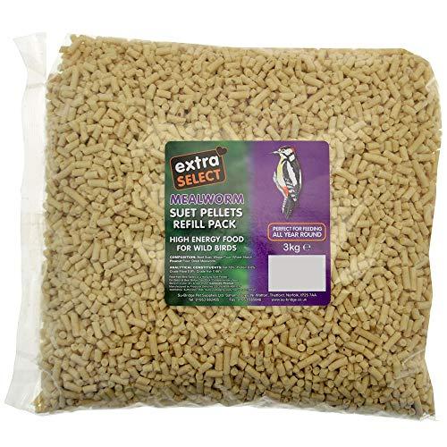 Extra Select High Energy Mealworm Suet Pellets Refill Wild Bird Treat, 3 kg