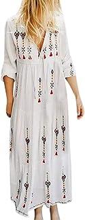 LOPILY 2019 Autumn Casual Dress Women Plus Size V Neck Print Long Sleeve Boho Dress Party Maxi Dress Soft Club Dress