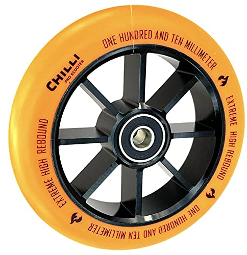 Rueda de repuesto Chilli Pro para patinete de acrobacias, 110 mm + pegatina Fantic26 (negro/naranja puro)